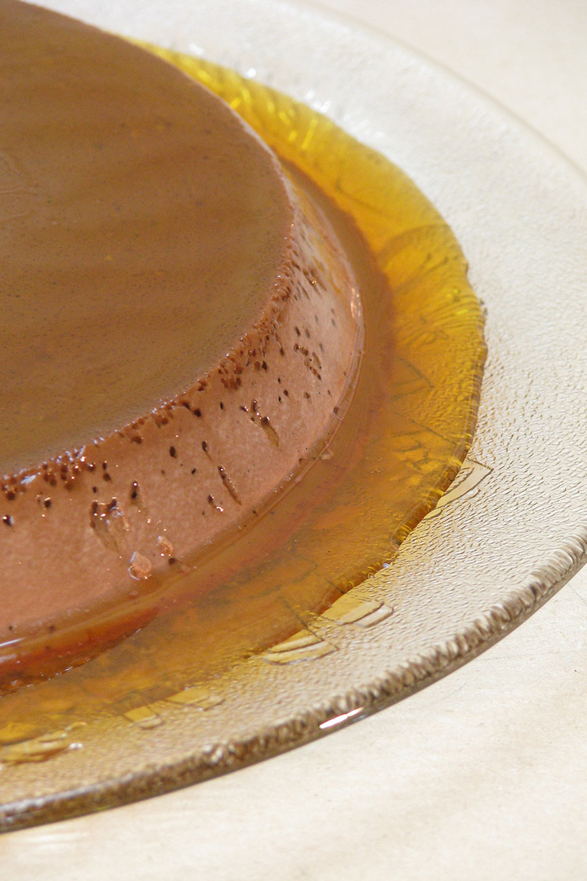 Mexican chocolate flan with caramel sauce