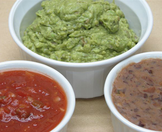 guacamole, salsa and refried beans