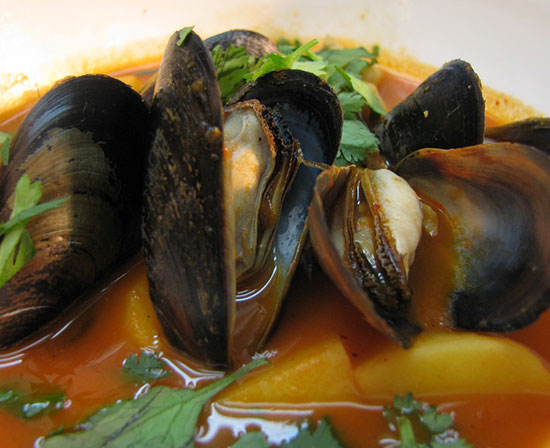 Mexican fish and mussel soup with guajillo chiles