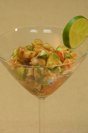 Mexican shrimp ceviche with cucumber, avocado and hot sauce