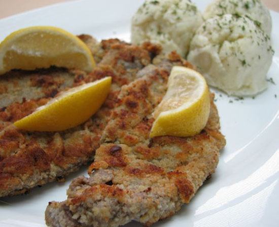 pan fried wiener schnitzel with Hungarian mashed potatoes