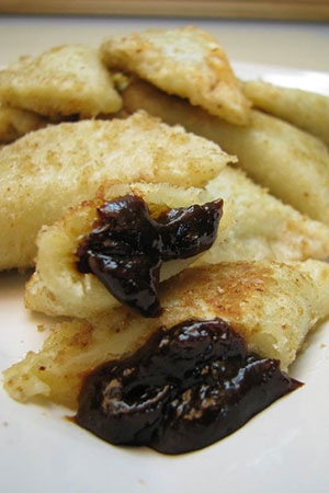 prune filled perogies with butter and breadcrumbs