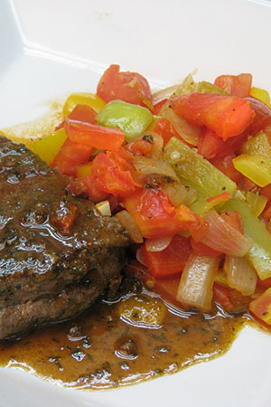 rib eye steak with Hungarian lecso (ratatouille)