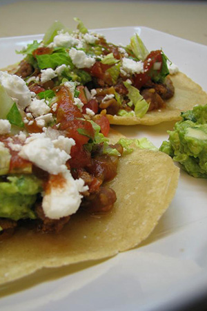 beef tostadas with guacamole