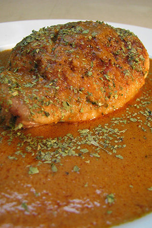 Mexican broiled chicken with peanut mole