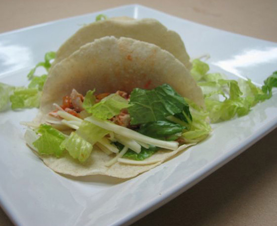 chicken tacos with homemade corn tortillas and fillings