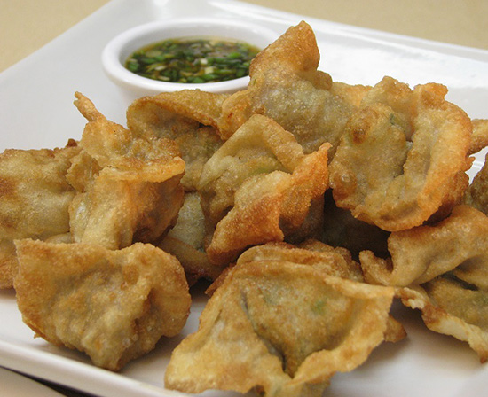 Chinese deep fried pork wontons