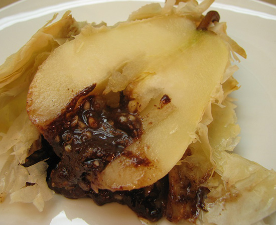 filo pastry wrapped pear stuffed with chocolate and walnuts