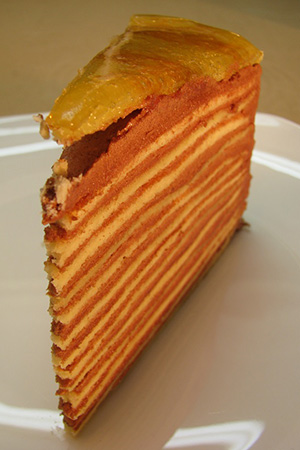 Hungarian Dobos torte slice