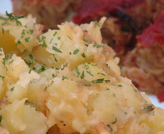 Hungarian parsley potatoes with cabbage rolls