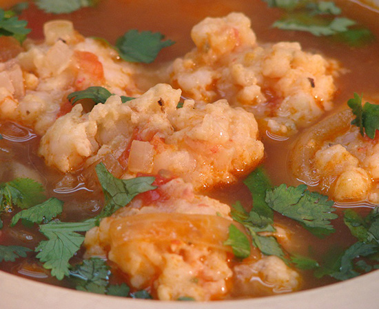 Mexican shrimp ball soup