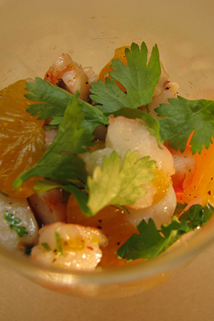 Mexican shrimp ceviche with mandarin oranges, capers and roasted poblano chiles