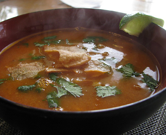 Mexican tortilla and chicken soup