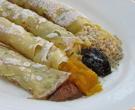 palacsinta (Hungarian crepes) with chocolate, apricot, prune and walnut fillings