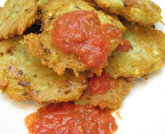 potato pancakes with spicy stewed tomato salsa