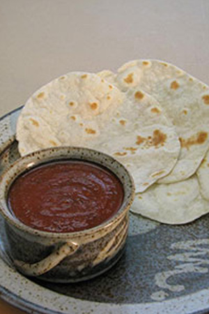 homemade flour tortillas and salsa
