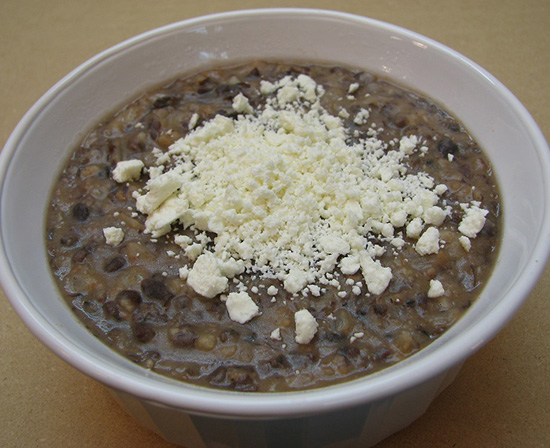 refried beans with queso duro blando