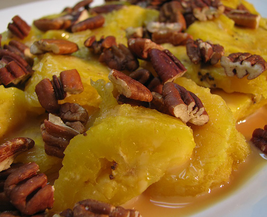Mexican roasted plantains with cajeta and pecans