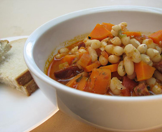 white bean soup with smoked Hungarian kolbasa