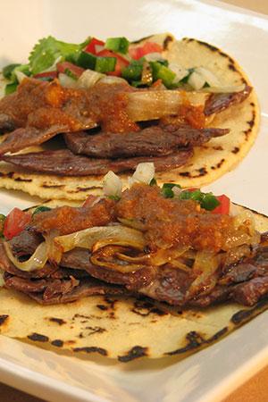 Mexican cecina tacos