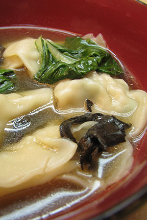 wonton soup with bok choy and mushrooms