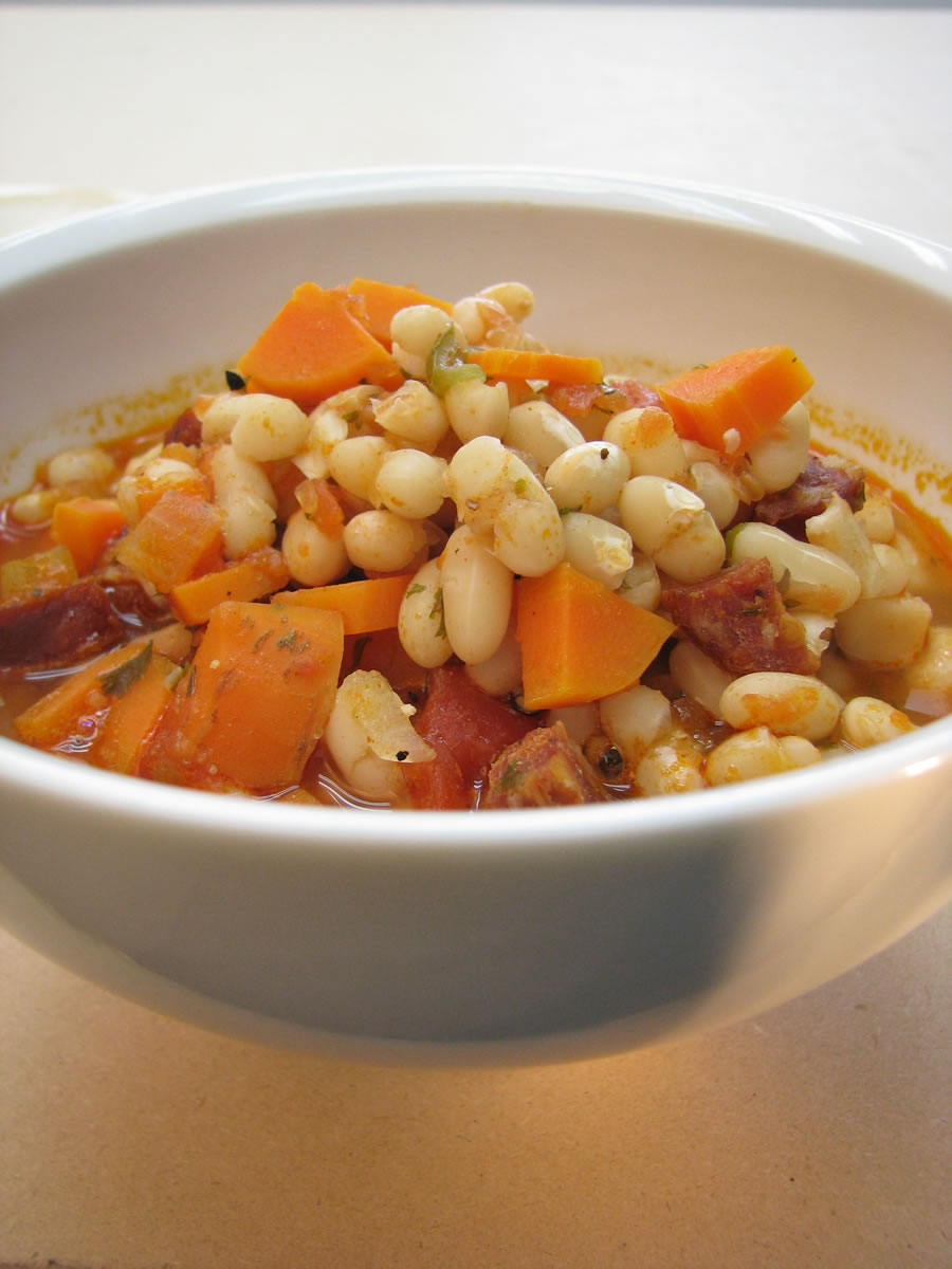 Hungarian White Bean Soup with navy beans, carrots, onions, celery and Hungarian kolbassa