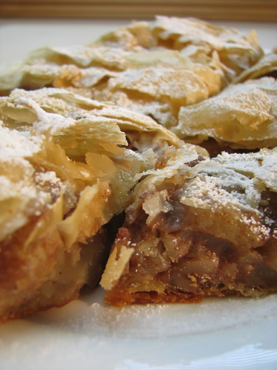 Apple Cinnamon Strudel made with phyllo pastry, apples, walnuts and raisins