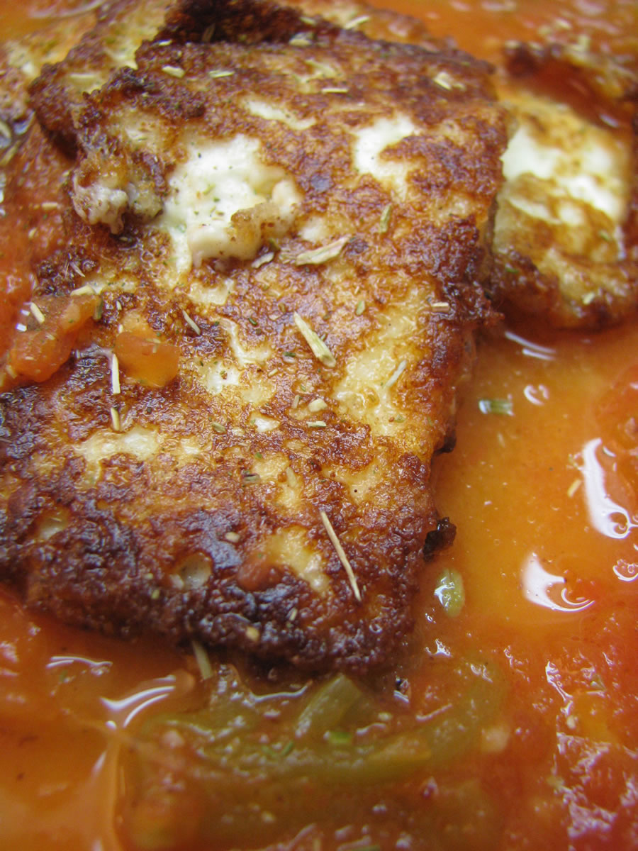 Queso Frito (Fried Cheese) in a charred tomato and poblano pepper broth