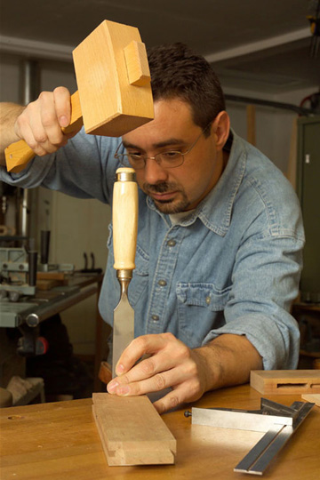 trimming tenon shoulders with chisel