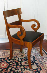 Walnut Burl Biedermeier Style Dining Chair